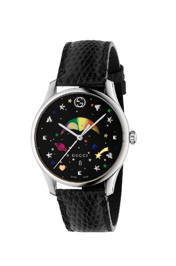 Gucci G-timeless Rainbow Moonphase Lizard Strap Watch In Black