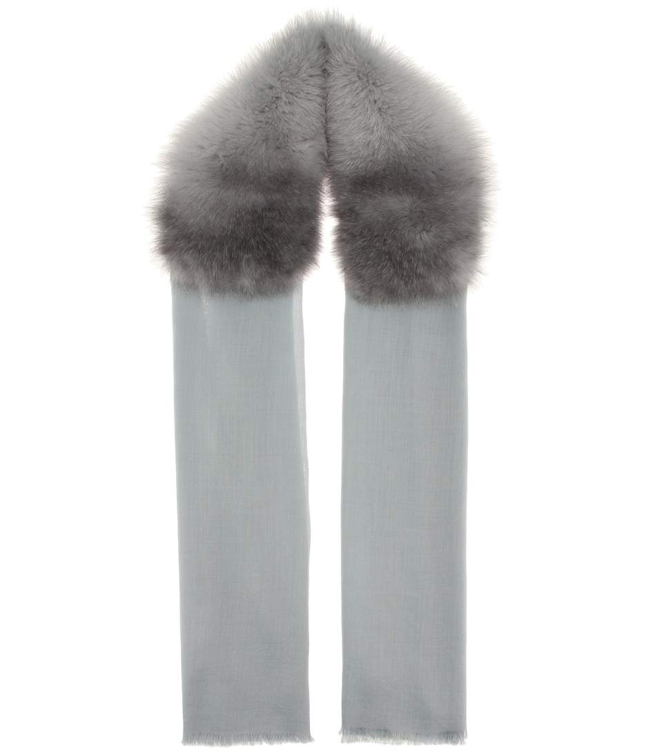 Valentino Cashmere And Fur Scarf In Grey