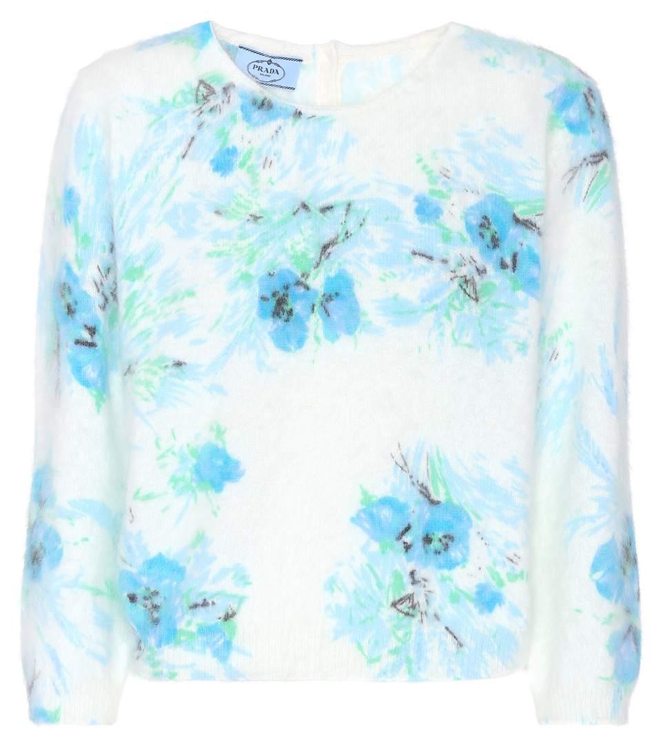 Prada Floral Angora Sweater In Multicoloured