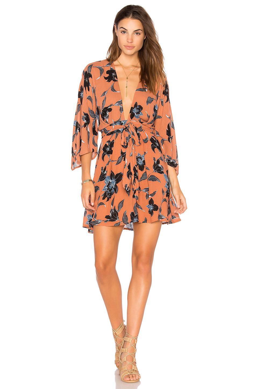 Faithfull The Brand Nova Floral Print Dress In Tan