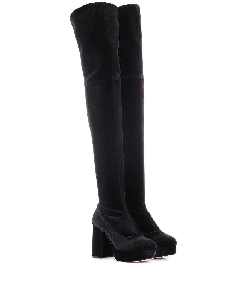 45e76b993b9bf Miu Miu Platform Velvet Over-The-Knee Boot In Black | ModeSens