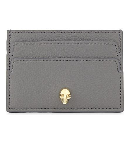 Alexander Mcqueen Skull Leather Card Holder In Graphite Gold