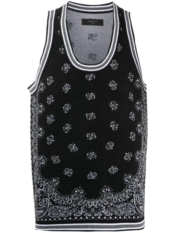 Amiri Bandana-jacquard Cotton And Cashmere-blend Tank Top In Black