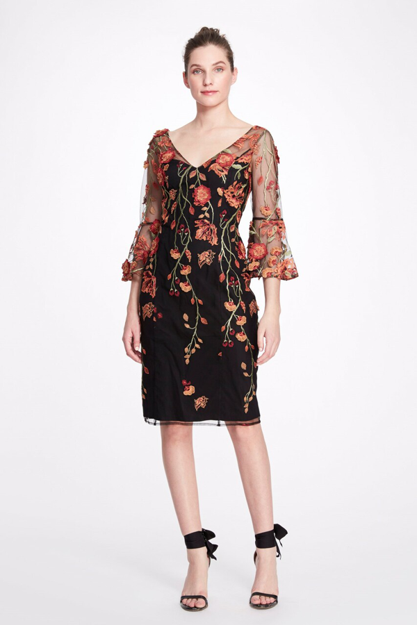 Marchesa Notte Floral-embroidered Bell-sleeve Dress In Black