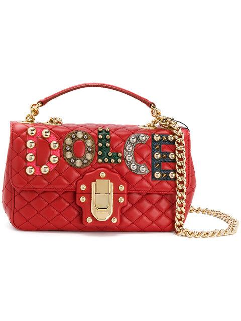 Dolce & Gabbana Leather Shoulder Bag With Leather And With Logo In Red