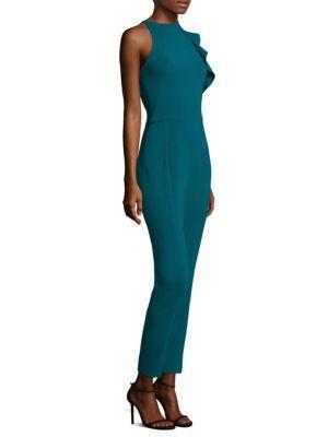2cd2d967f07 Black Halo Pabla High-Neck Sleeveless Crepe Jumpsuit W  Ruffle In Jade