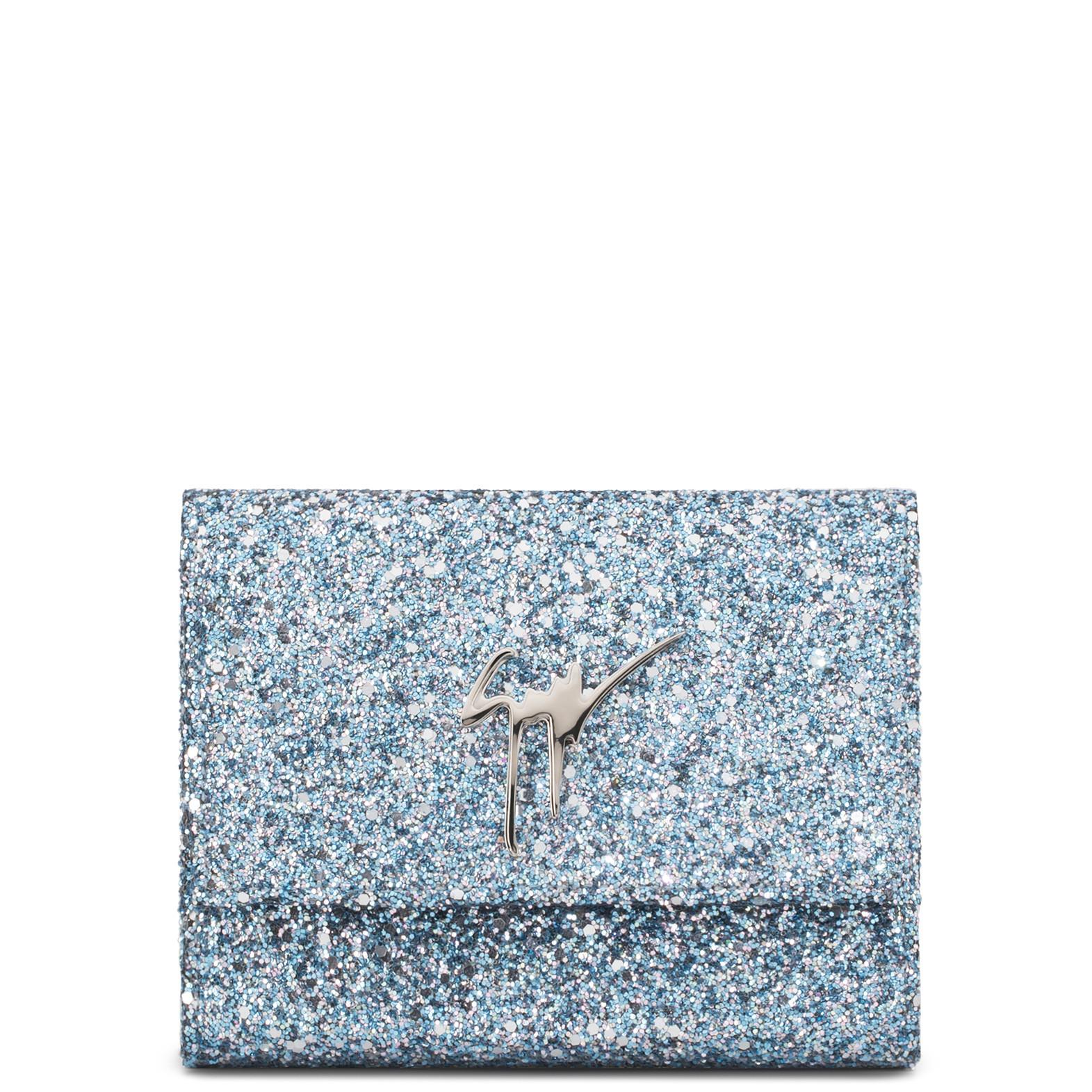 Giuseppe Zanotti - 165x125 Mm Blue Glitter Fabric Clutch Merry Sparkle