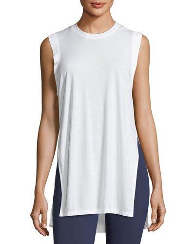 6c2e7594b5a Under Armour Breathe Crewneck Sleeveless Side-Slit Tunic Tank In White