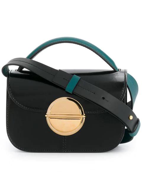 Marni Color Block Mini Leather Satchel In Black
