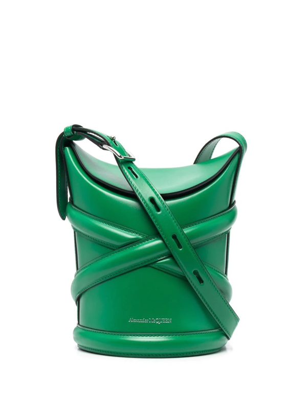 Alexander Mcqueen The Curve Small Leather Shoulder Bag In Grün