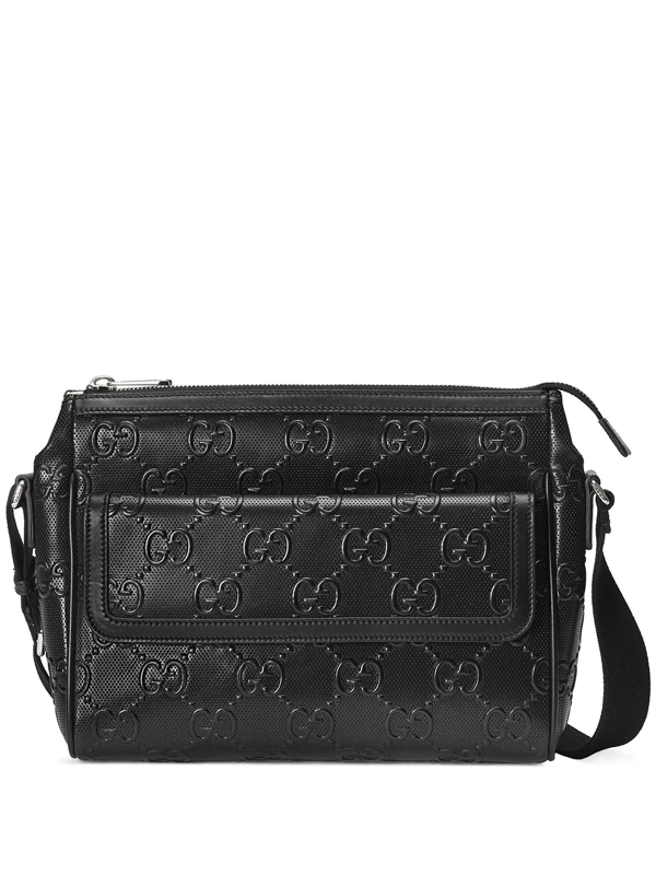 Gucci Gg Embossed Messenger Bag In Black Leather