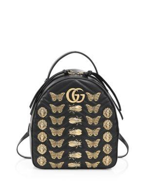 Gucci Gg Marmont Animal Studs Leather Backpack In Black
