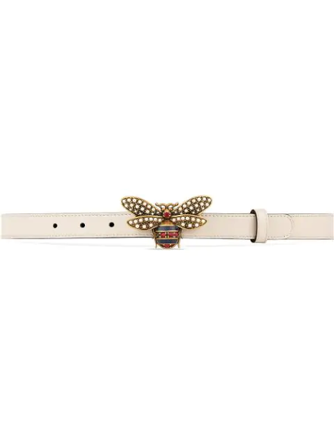 49ebce86c Gucci Queen Margaret Leather Bee Belt In White | ModeSens
