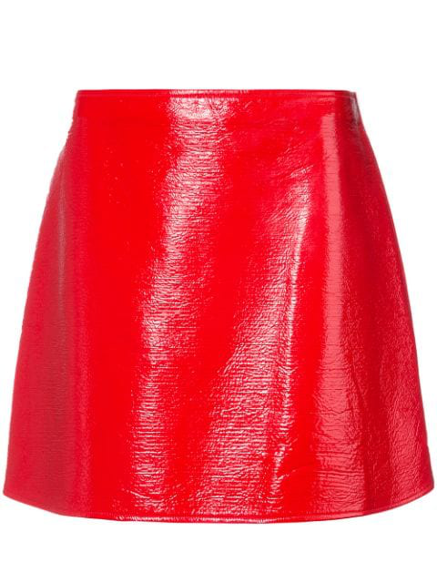 CourrÈGes Patent-Effect Cotton Mini Skirt In Cherry Red