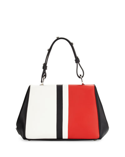 35ec39db66 Prada Baiadera Arcade-Stripe Leather Satchel Bag