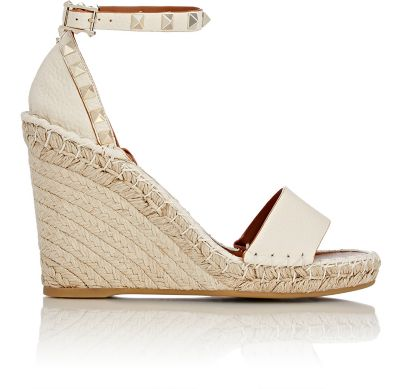 d1442e55bcbd Valentino Rockstud Double Espadrille Wedge Sandals