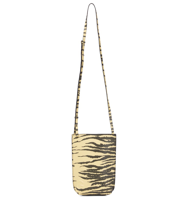 Ganni Zebra-print Leather Crossbody Bag In Yellow