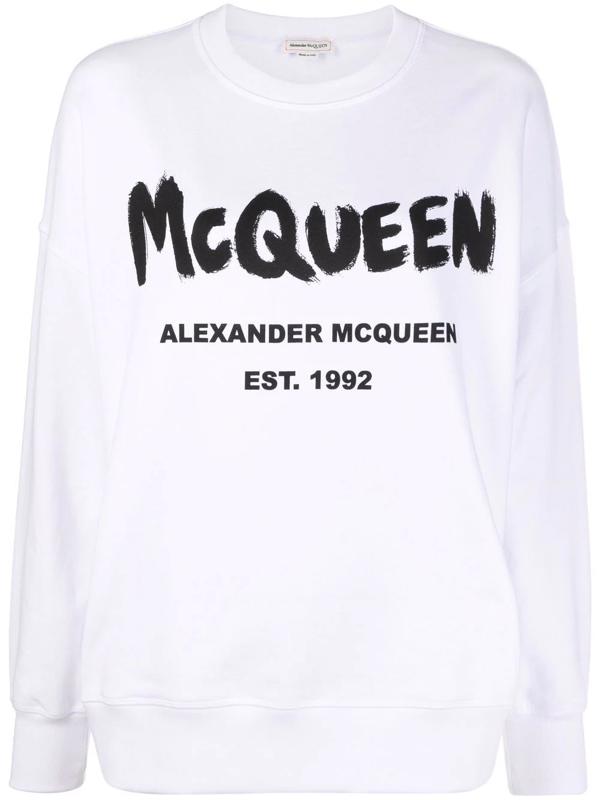 Alexander Mcqueen Woman White Mcqueen Graffiti Sweatshirt In White / Black