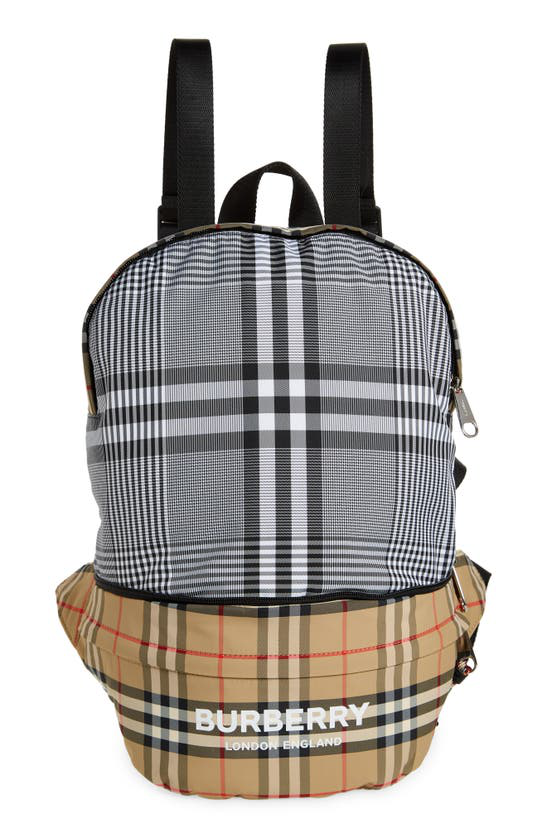 Burberry Rex Vintage Check Convertible Econyl Belt Bag In Black / White
