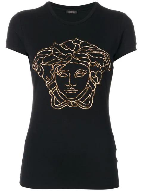 2bc2c47b Versace Crystal-Embellished Medusa T-Shirt In Black | ModeSens