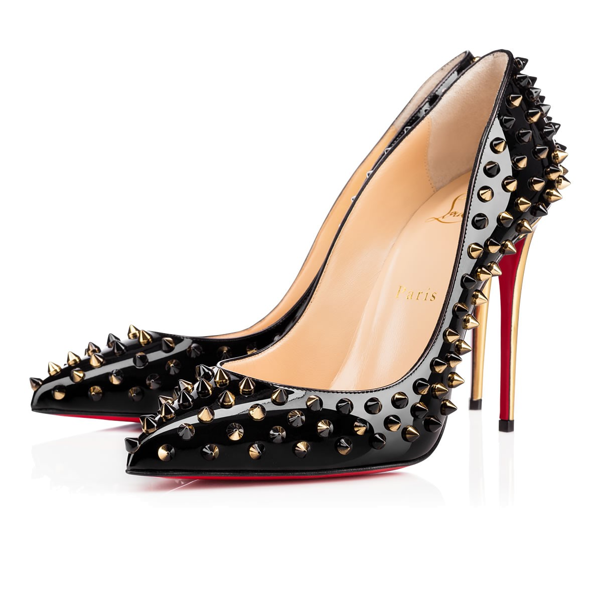 f0773f27889 Christian Louboutin Follies Spiked Velvet 100Mm Red Sole Pump ...