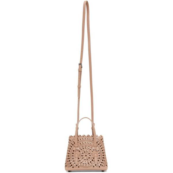 Alaïa Beige Micro Mina 16 Top Handle Bag In 124 Sand