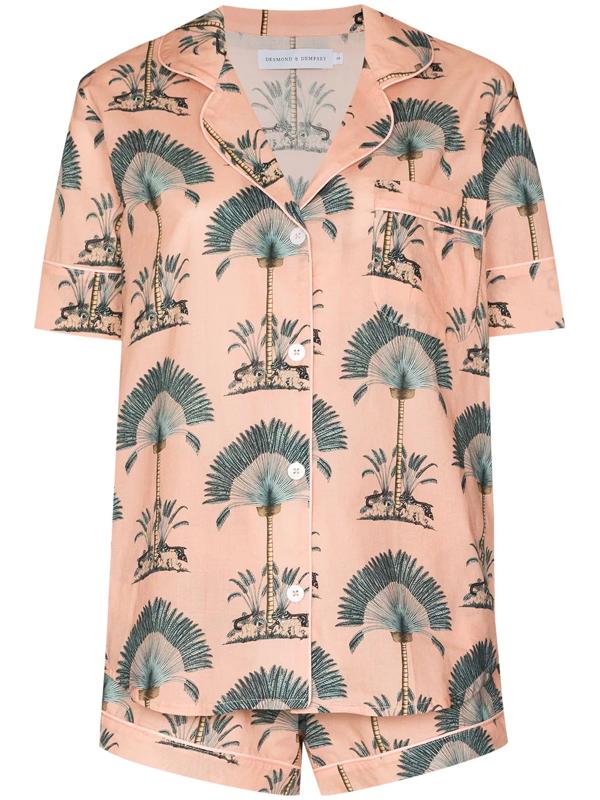 Desmond & Dempsey Ravenala Printed Cotton Pyjama Set In Pink