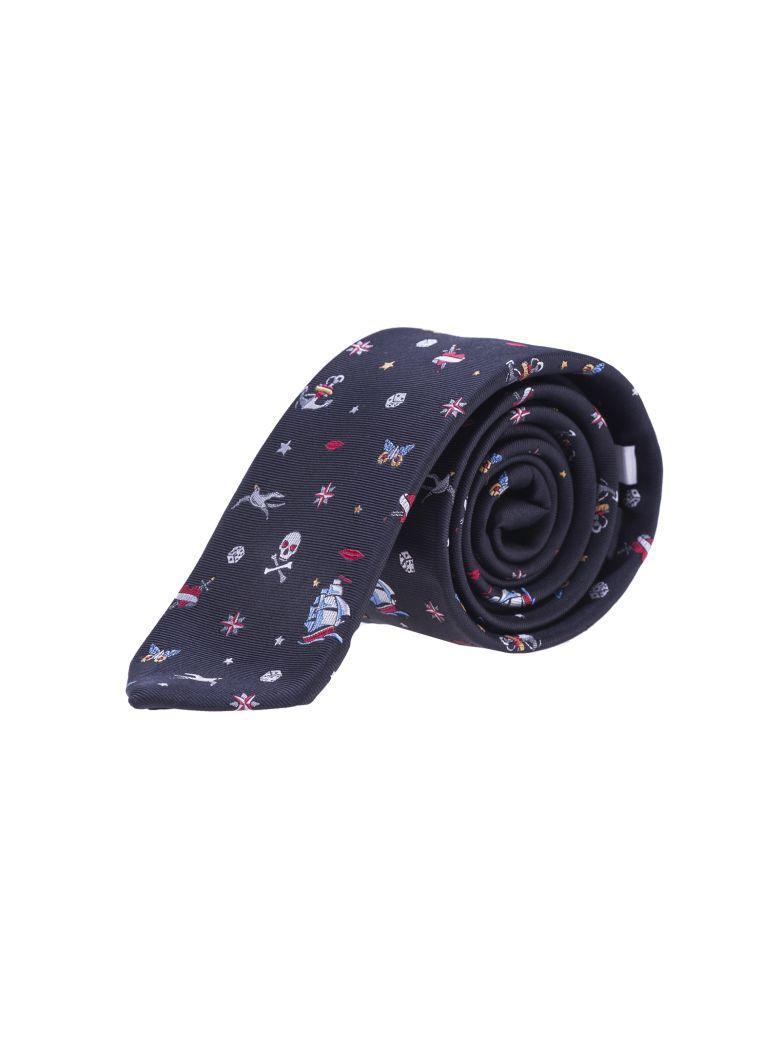 Valentino Tattoo Silk-Jacquard Tie In Black