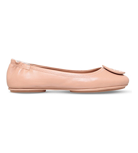 06e23a8b4 Tory Burch 'Minnie Travel' Leather Ballet Flats In Nude | ModeSens