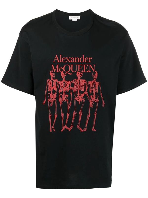 Alexander Mcqueen Cotton Skeleton T-shirt With Print In Black
