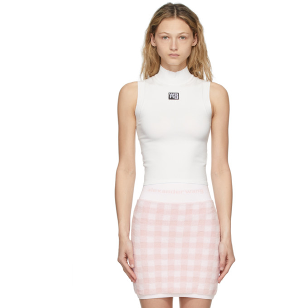 Alexander Wang T White Logo Patch Muscle Tank Top In 104 Snow