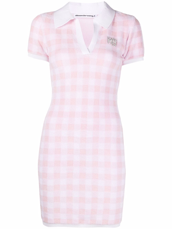 Alexander Wang T Crystal-embellished Gingham Cotton-blend Terry Mini Dress In 686 Cradle Pink/whit