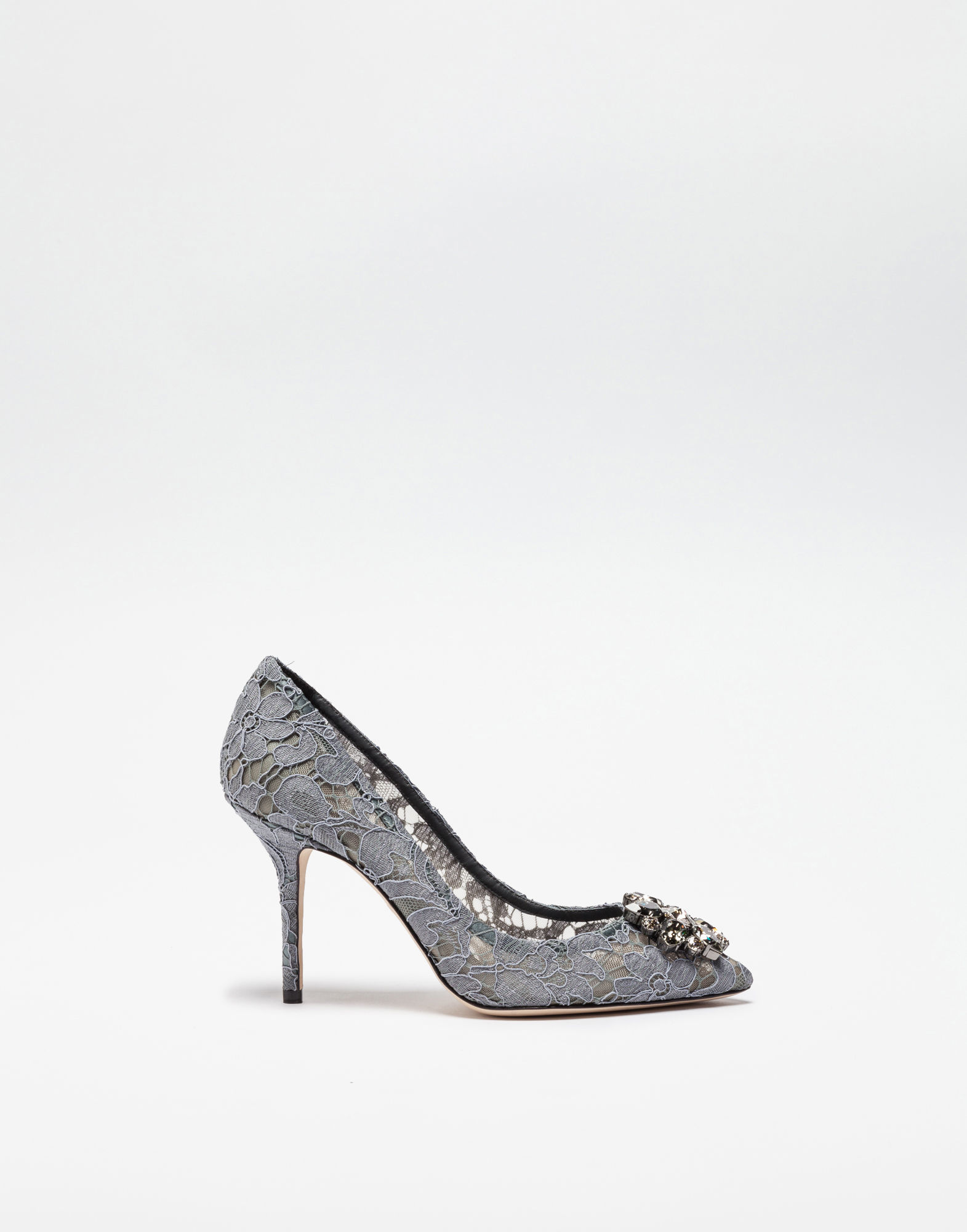 Dolce & Gabbana Belluci Crystal-Embellished Lace Pumps In Grey