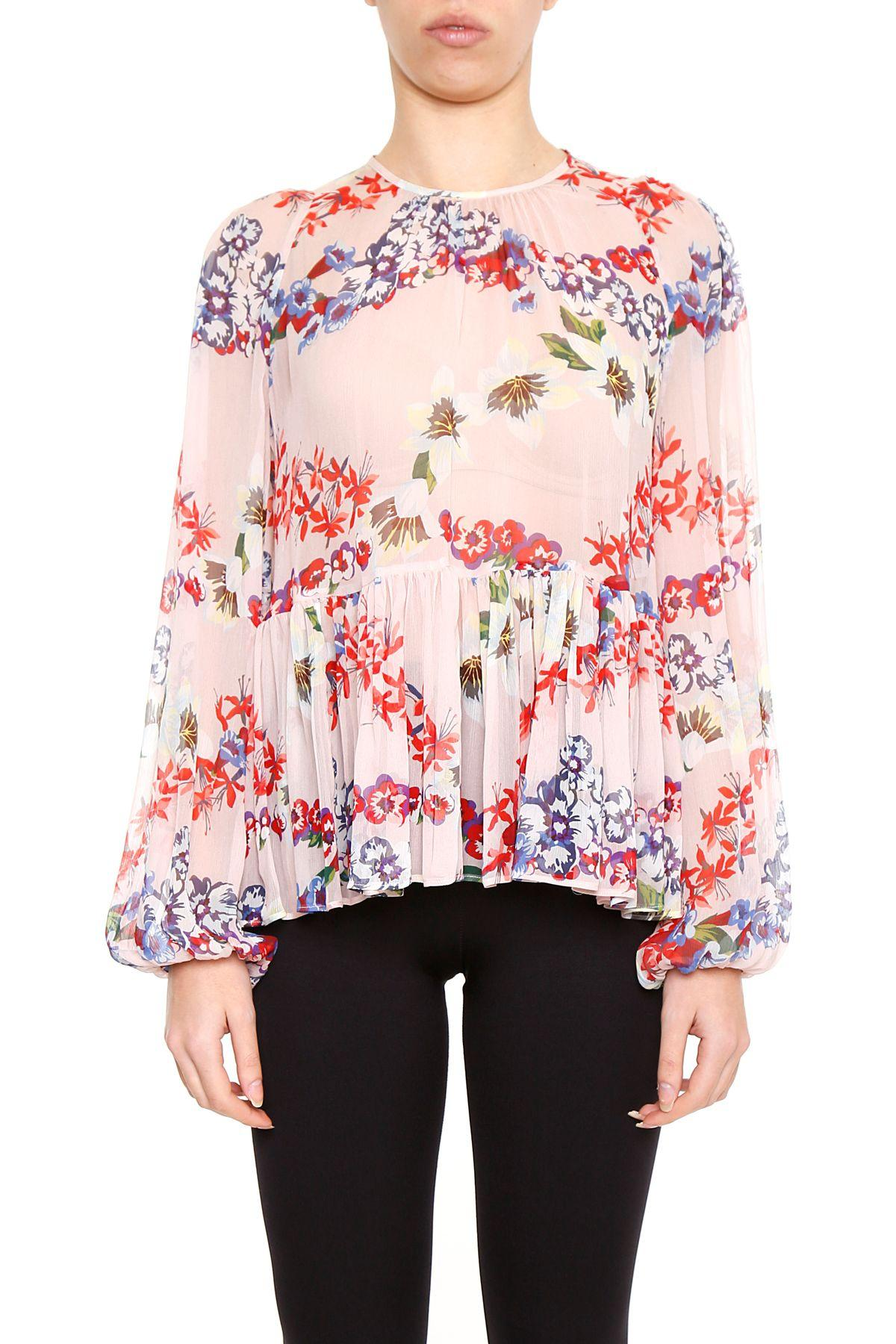 Msgm Printed Silk Blouse In Basic