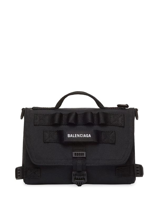 Balenciaga Army Embroidered-logo Messenger Bag In 1000 Black