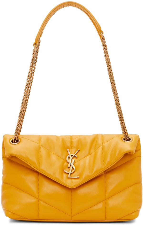 Saint Laurent Loulou Ysl Small Puffer Shoulder Bag In 7004 Saffran
