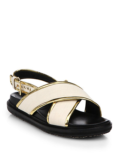 Marni Metallic-Trimmed Leather Criss-Cross Sandals In White