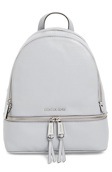17480a90aaa4 Michael Michael Kors  Small Rhea Zip  Leather Backpack In Dove  Silver