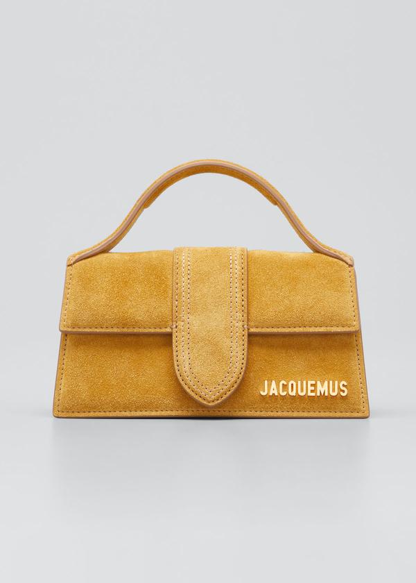 Jacquemus Le Bambino Suede Flap Top-handle Bag In Dark Yellow