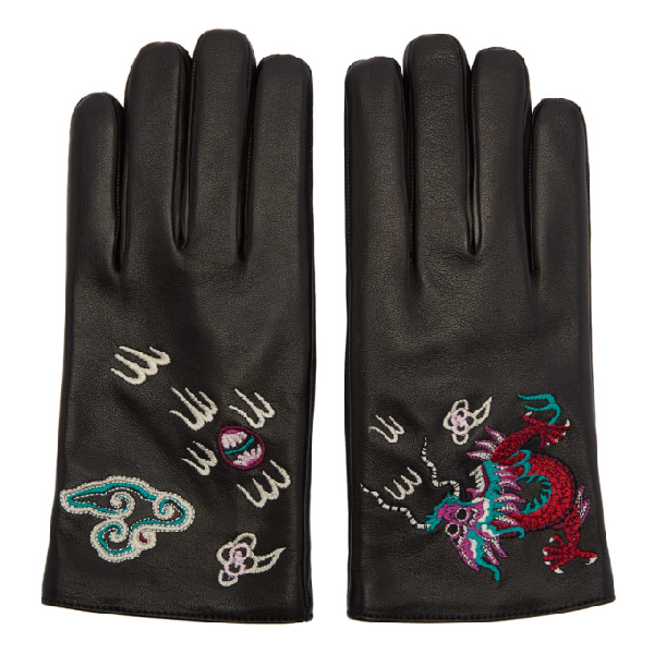 2a424c41f5e Gucci Leather Gloves With Dragon Embroidery In Black