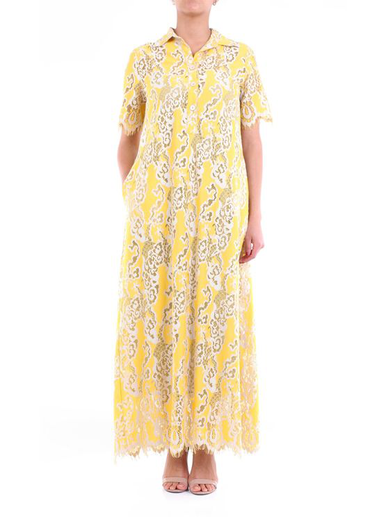 Jucca Long Fantasy Yellow Dress With Short Sleeves