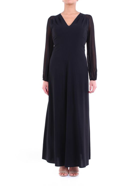 Jucca Long Black Dress With Long Sleeves