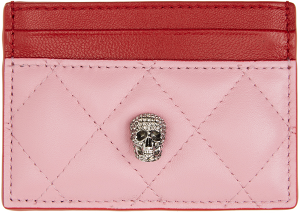 Alexander Mcqueen Skull-embellished Two-tone Leather Card Holder In 5960 Pastel