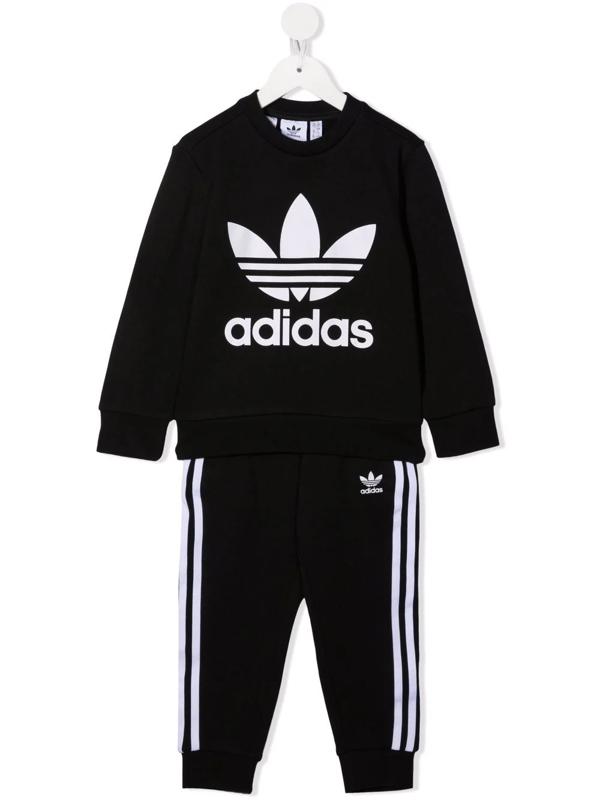 Adidas Originals Kids' Logo-print Tracksuit Set In Black