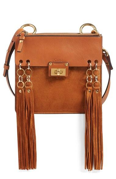 025015472f 'Small Jane' Tassel Suede & Leather Crossbody Bag in Caramel