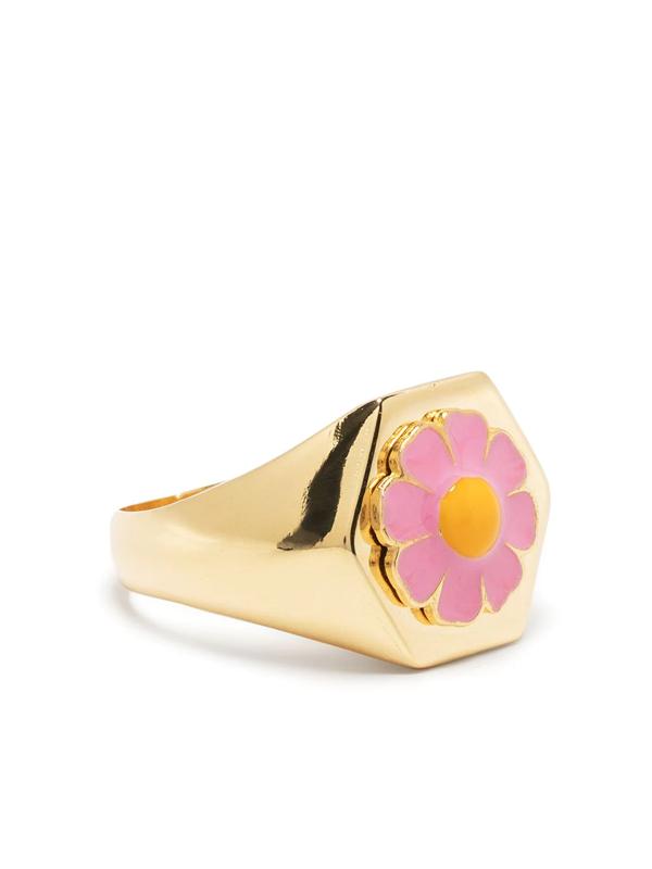 Wilhelmina Garcia Daisy Enamel & Gold-vermeil Signet Ring In Pink