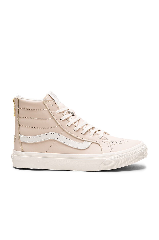 c7a82cbb45 Vans Leather Sk8-Hi Slim Zip Sneaker In Whispering Pink   Blanc De Blanc