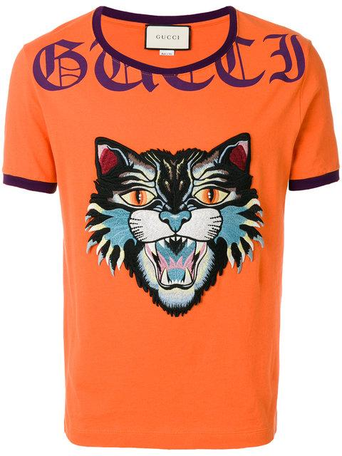 376e2f5fbd29 Gucci T-Shirt T-Shirt In Pure Cotton With Angry Cat Maxi Patch And ...