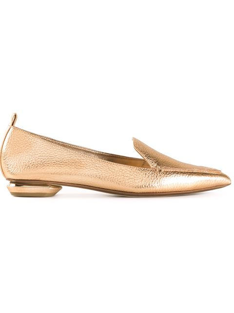 Nicholas Kirkwood Pebbled Metallic Leather Point-Toe Loafer In Bronze