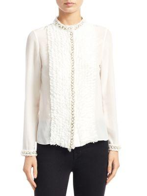 9855b64a1db9b Alice And Olivia Arminda Button-Down Ruffled Chiffon Blouse W  Pearlescent  Trim In Off